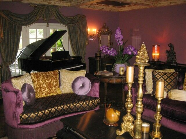 Plum Purple Gold Living Room Deco Interieure Interieur