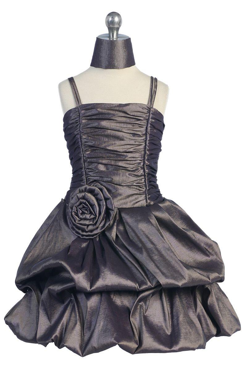 Metalic gray taffeta big rose bubbled hem short skirt flower girl