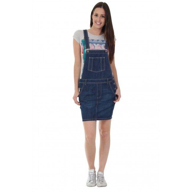 Denim bib overall dress