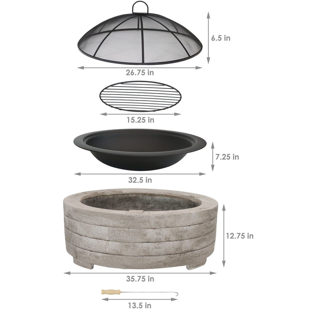 Sunnydaze Large Faux Stone Wood Burning Fire Pit Ring With Steel Fire Bowl And Spark Screen 35 Inch Diameter Wood Burning Fires Wood Burning Fire Pit Fire Pit Ring