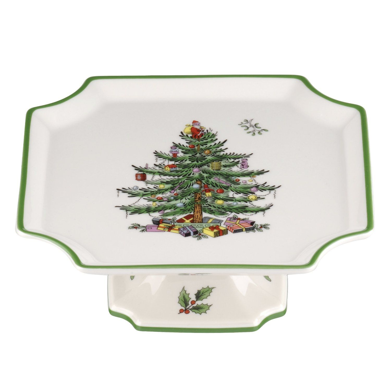 Spode Christmas Tree Footed Square Cake Plate #Spode #ChristmasTree ...