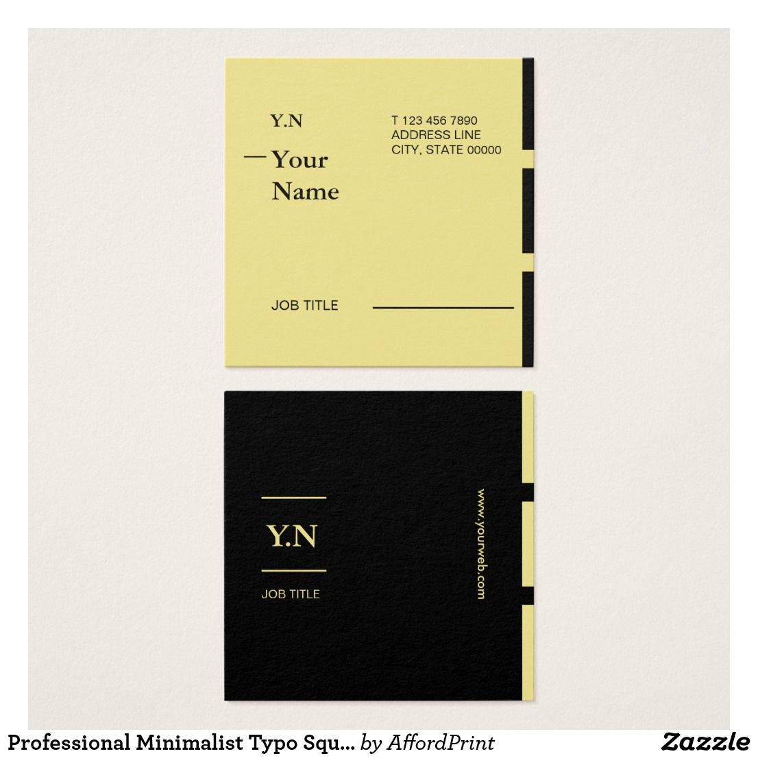Professional Minimalist Typo Square Business Card Printing Business Cards Professional Business Cards Square Business Card