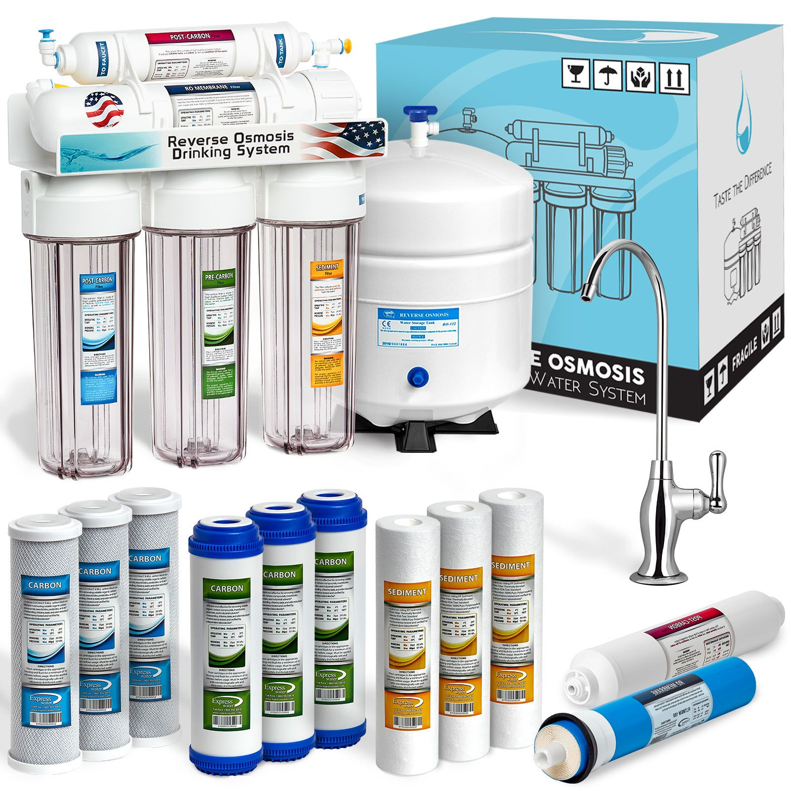 5 Stage Home Drinking Reverse Osmosis System Plus 7 Express Water Filter Clear Clear Ho Under Sink Water Filter Reverse Osmosis Best Reverse Osmosis System