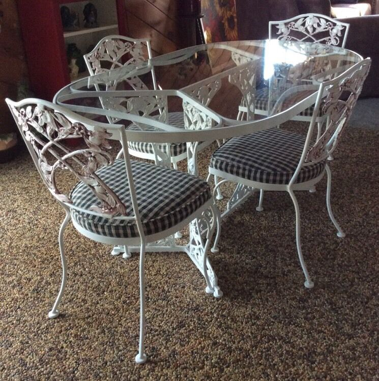 Vtg 70 S O W Lee Wrought Iron Oval Glass Top Table 4 Chairs