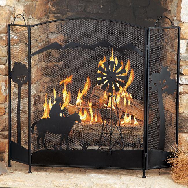 Cowboy Fireplace Screen Fireplace Screens Rustic Fireplace