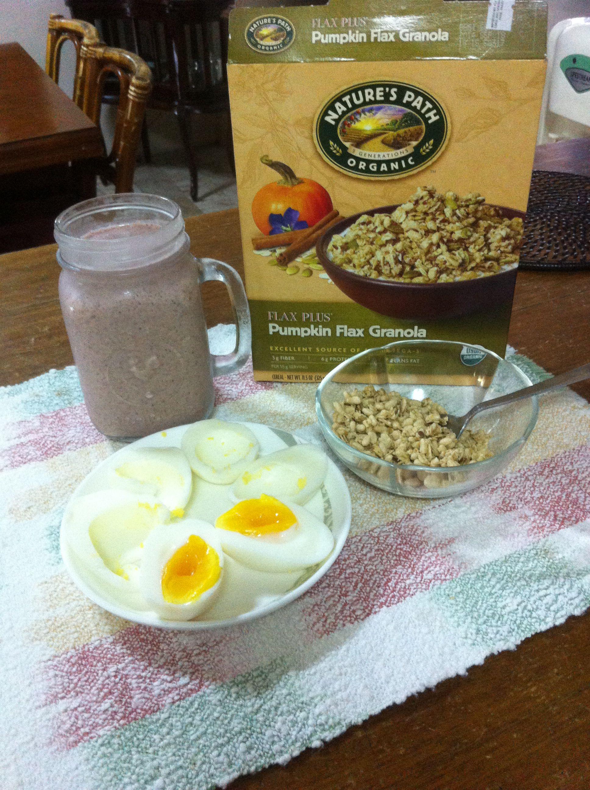 Breakfast granola boiled egg whites berry smoothie