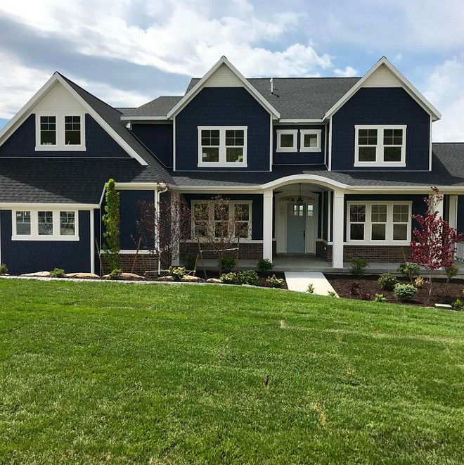 The Navy Exterior Paint Color Is Benjamin Moore Hale Navy The Trim Is Benjamin Moore Simply Whit Gray House Exterior House Paint Exterior Outside House Colors