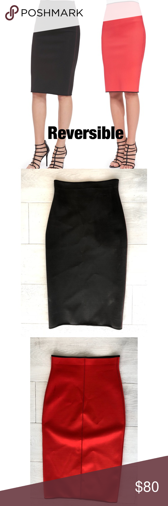 4ed4e3c03 Clover canyon reversible skirt Clover Canyon solid neoprene pencil skirt.  Reversible from red to black