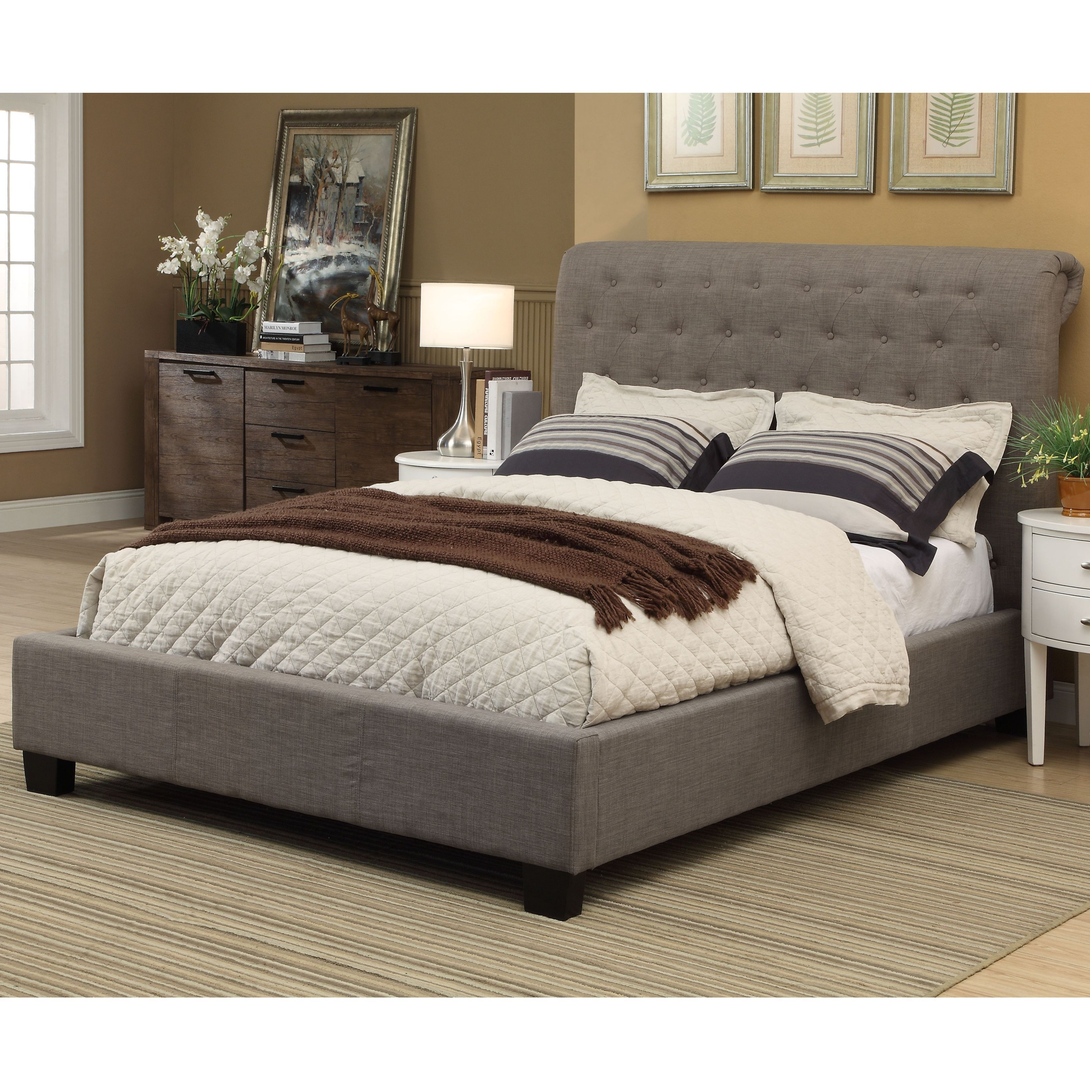 Modus Royal Tufted Platform Bed (Distressed - Queen), Brown