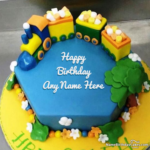 Free Train Birthday Cake With Your Kids Name And Photo