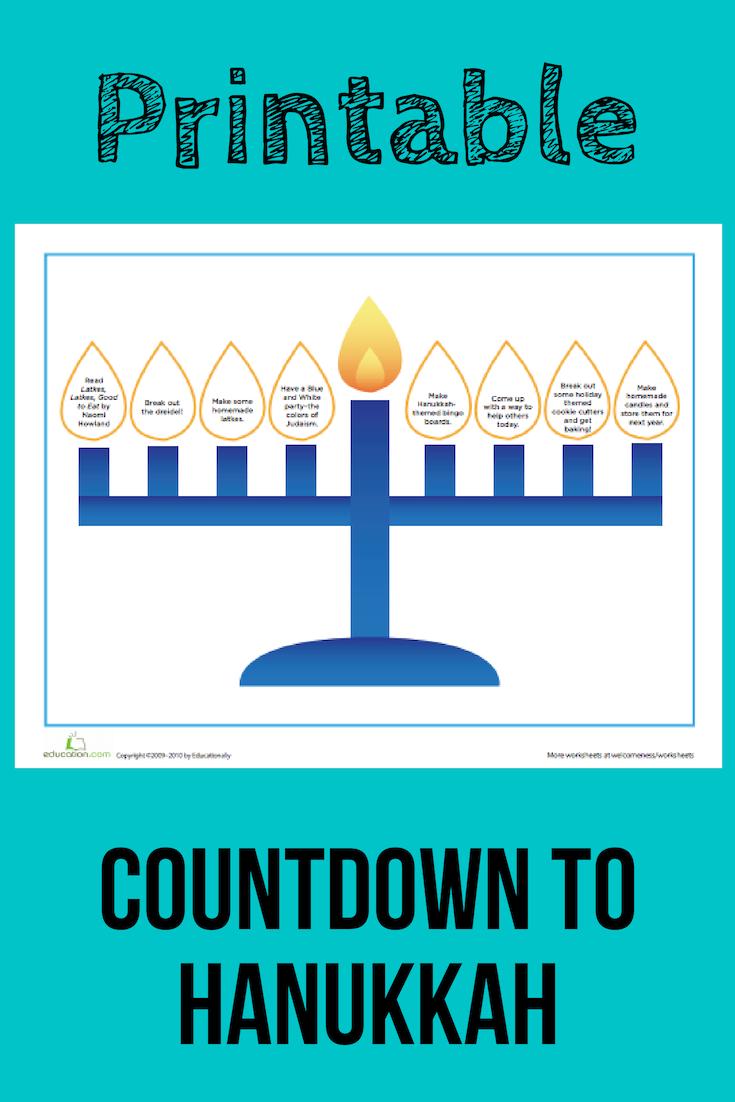 Countdown To Hanukkah Worksheet Education Com Hanukkah Happy Hanukkah Xmas Printables [ 1102 x 735 Pixel ]
