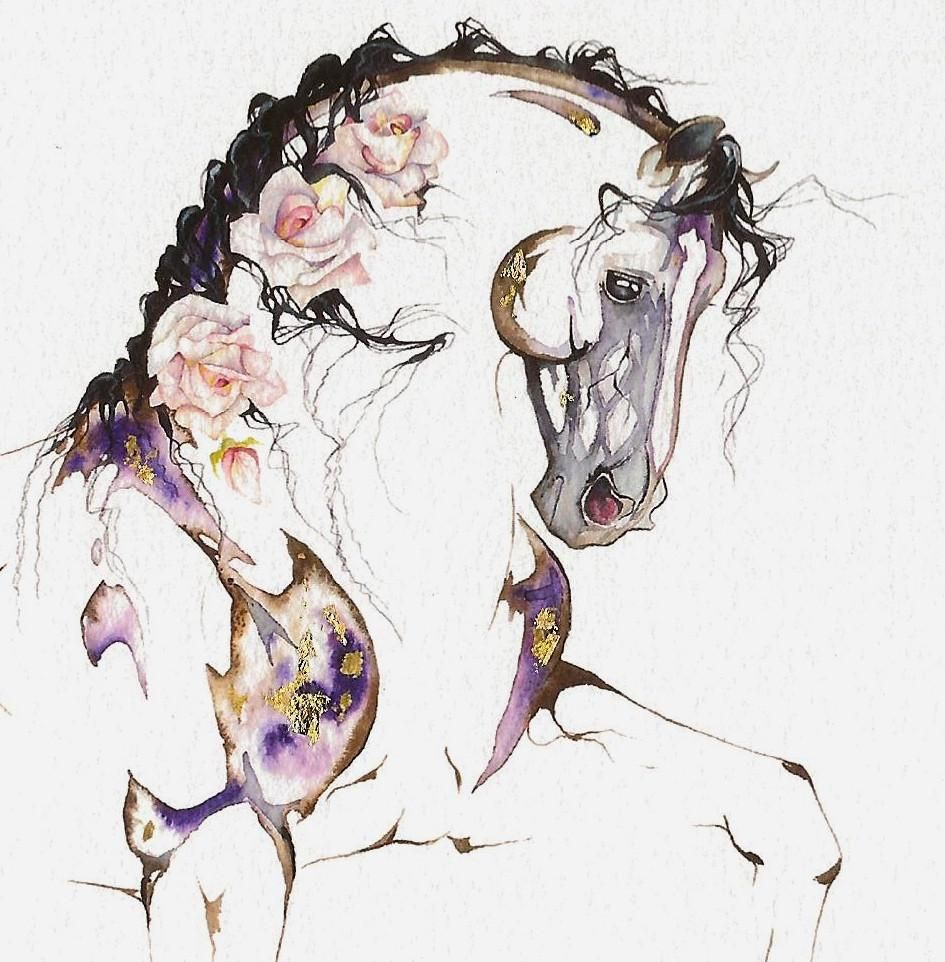 Redoute' with 23K gold leaf (unframed) - Sarah Lynn Richards~ custom equine art, drinkware, and clothing.