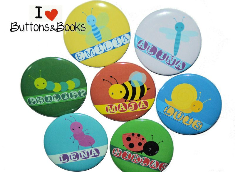 10+x+Tiere+mit+Wunschtext+z.B.Name+individuell+von+Buttons&Books+auf+DaWanda.com