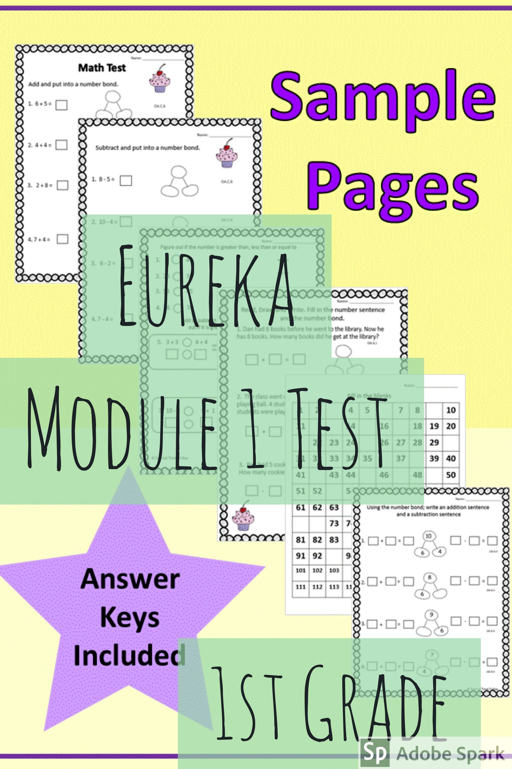 Eureka Module 1 Test Alternative. No prep Test to assess the math ...