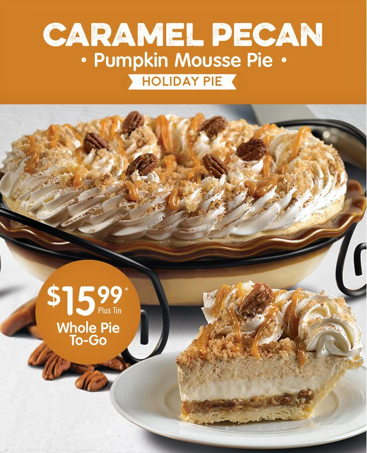 Caramel Pecan Pumpking Mousse Pie. The perfect ending to your Thanksgiving meal!