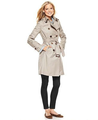 London Fog Coat, Trench Double Breasted Belted Lightweight Web ID: 650261