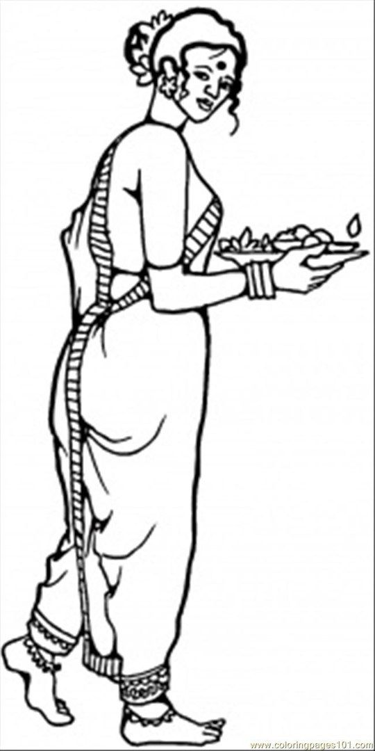 Saree Indian Girl Coloring Page