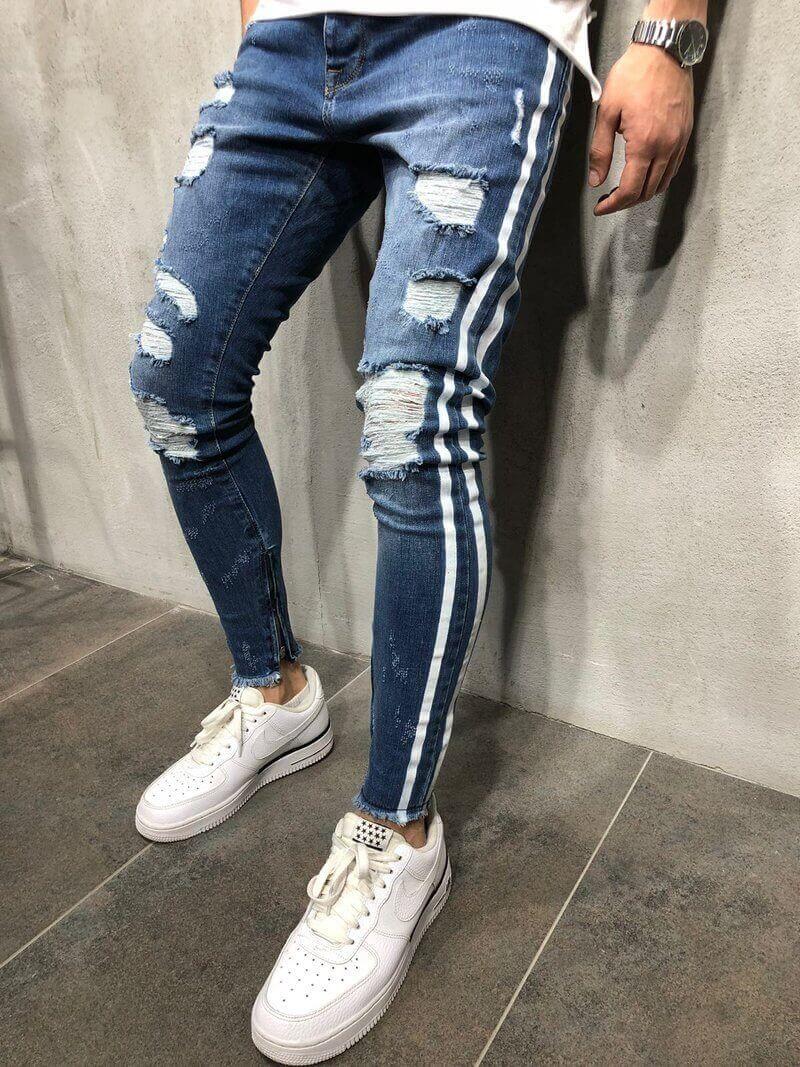 Men S White Striped Random Ripped Stonewashed Skinny Jeans Zipper Bottom Raw Hem 97 C Pantalon De Mezclilla Hombre Pantalones De Hombre Moda Ropa De Hombre