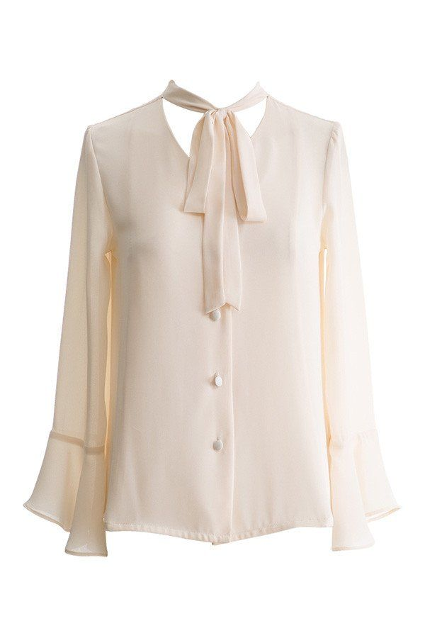 Bow Tie Neck Bell Sleeve Chiffon Top