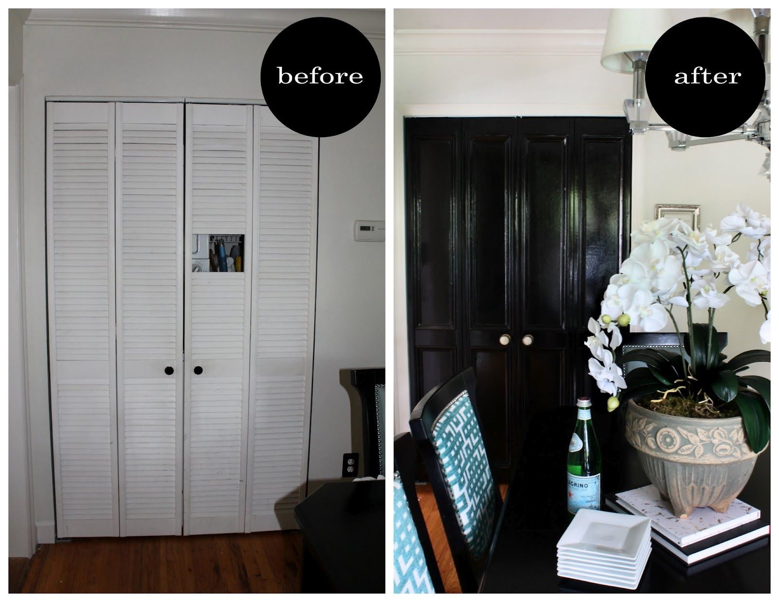 Turn Your Louvered Doors Into Paneled Doors In Just A Few Steps Apartment Decorating Rental Closet Door Makeover Door Makeover