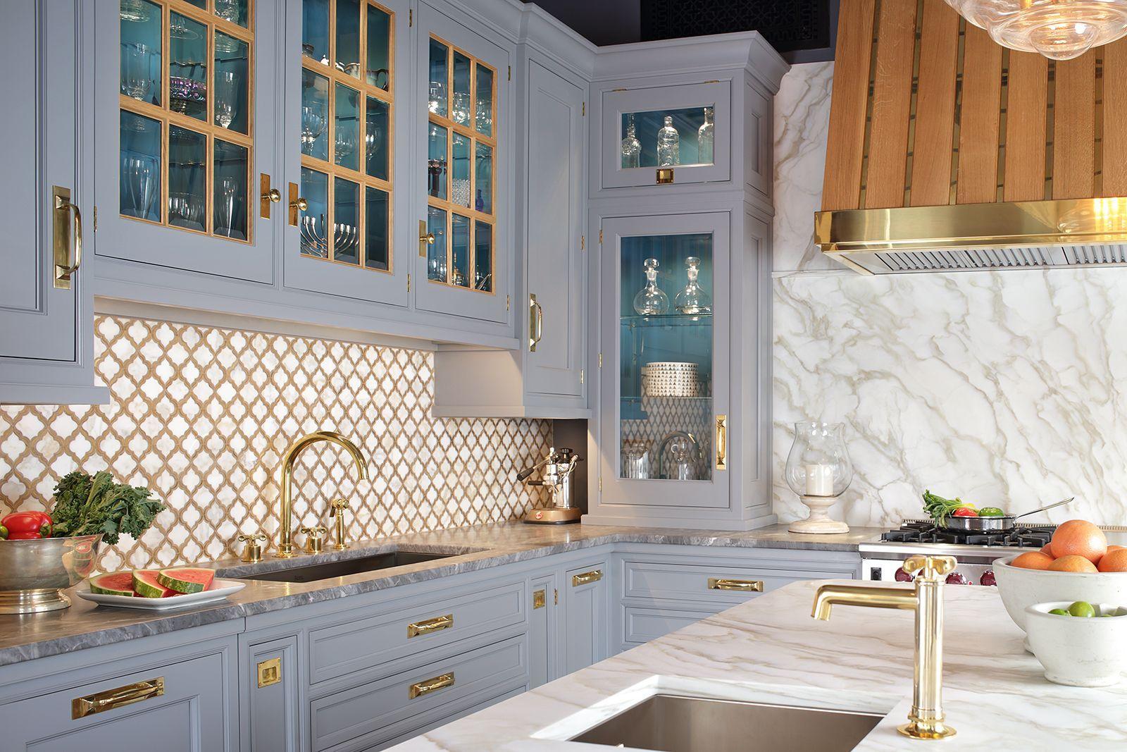 Natural rift cut white oak cabinets with custom mixed bluegrey