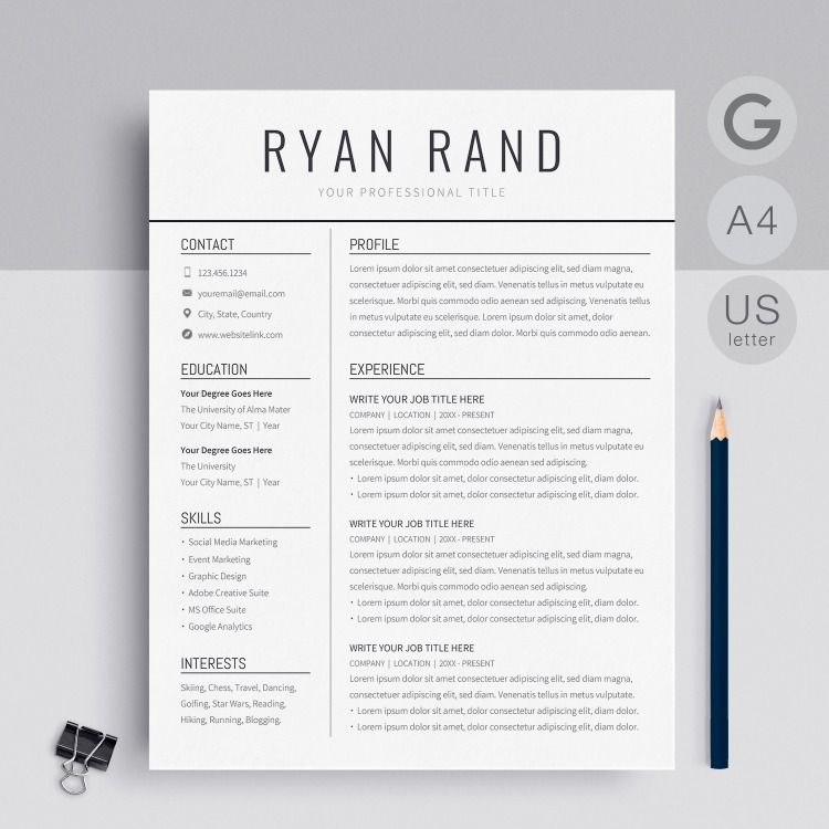 A Professional Google Docs Resume Template By Miodocs Instant