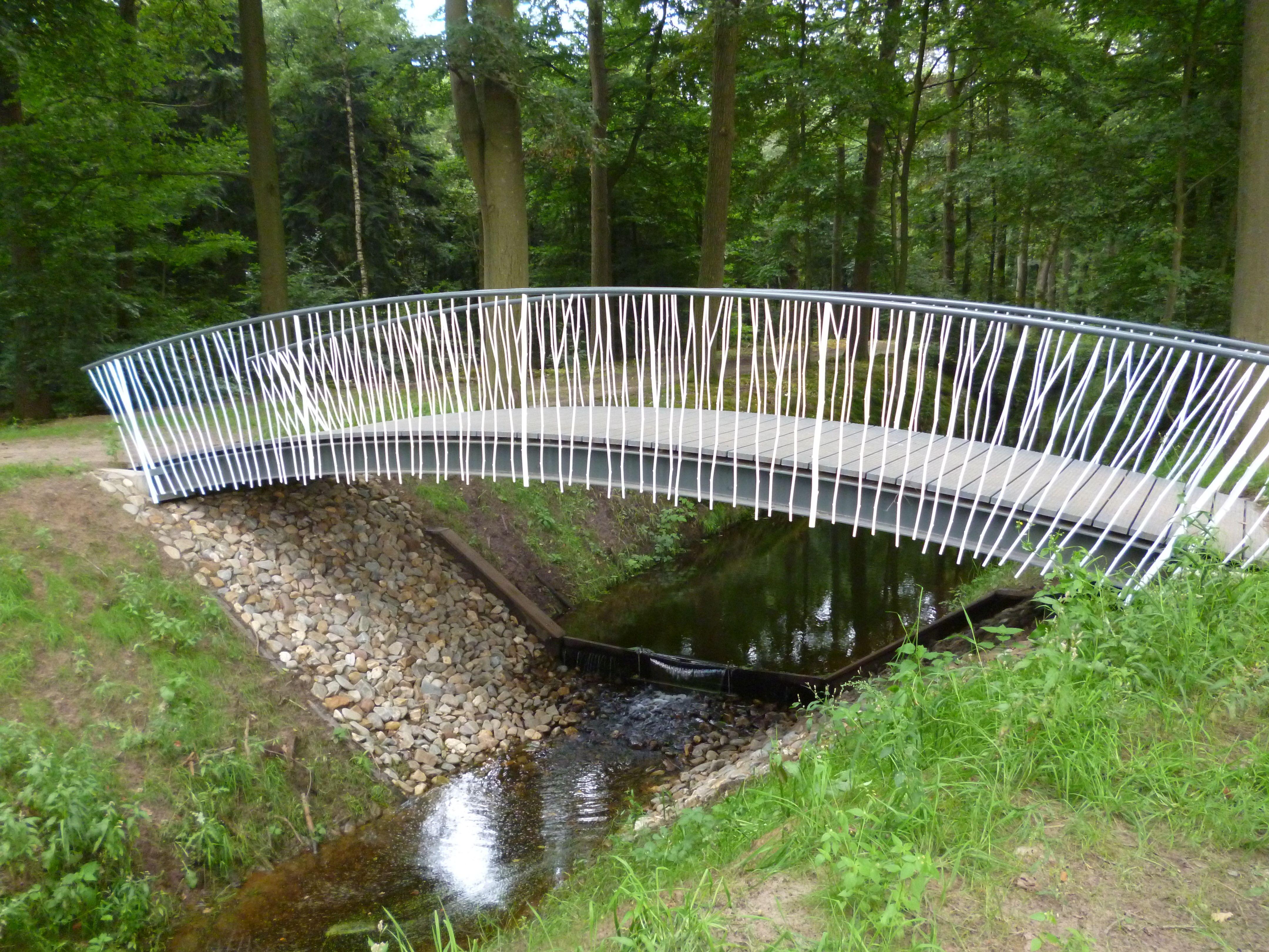 """De """"takkenbrug"""" op Landgoed 't Laer in Ommen. architect Marcel Eekhout Parklaanarchitecten. uitgewerkt en uitgevoerd door Gerwolt Westhuis Cronquels in samenwerking met Laveno Metaalbewerking."""