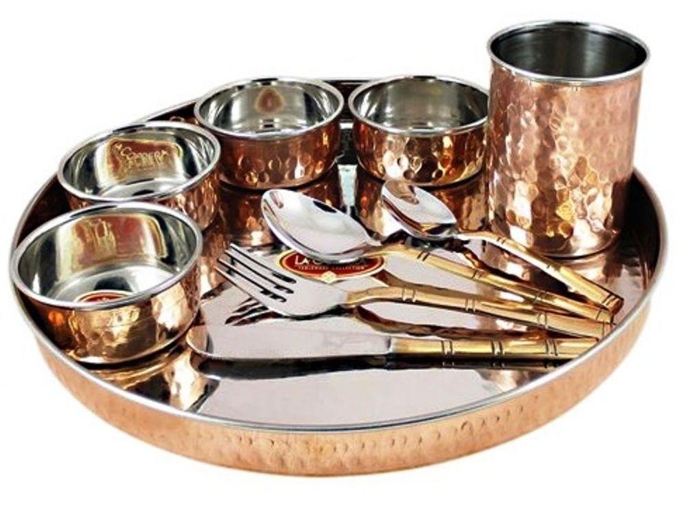 indian dinnerware set copper stainless steel thali plate set diameter 12 inch. Black Bedroom Furniture Sets. Home Design Ideas