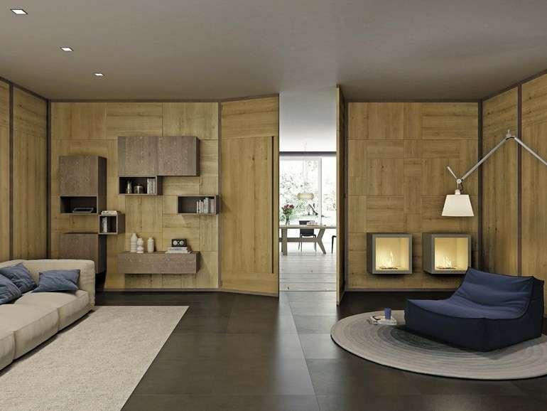 Mobili Sospesi ~ Mobili sospesi in soggiorno parete in legno domus arte