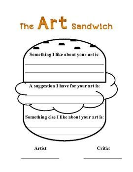 Art Sandwich Critique  Elementary Art    Art Lessons