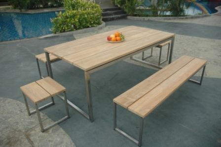 Table de jardin teck et inox Thales naturel | Table de ...