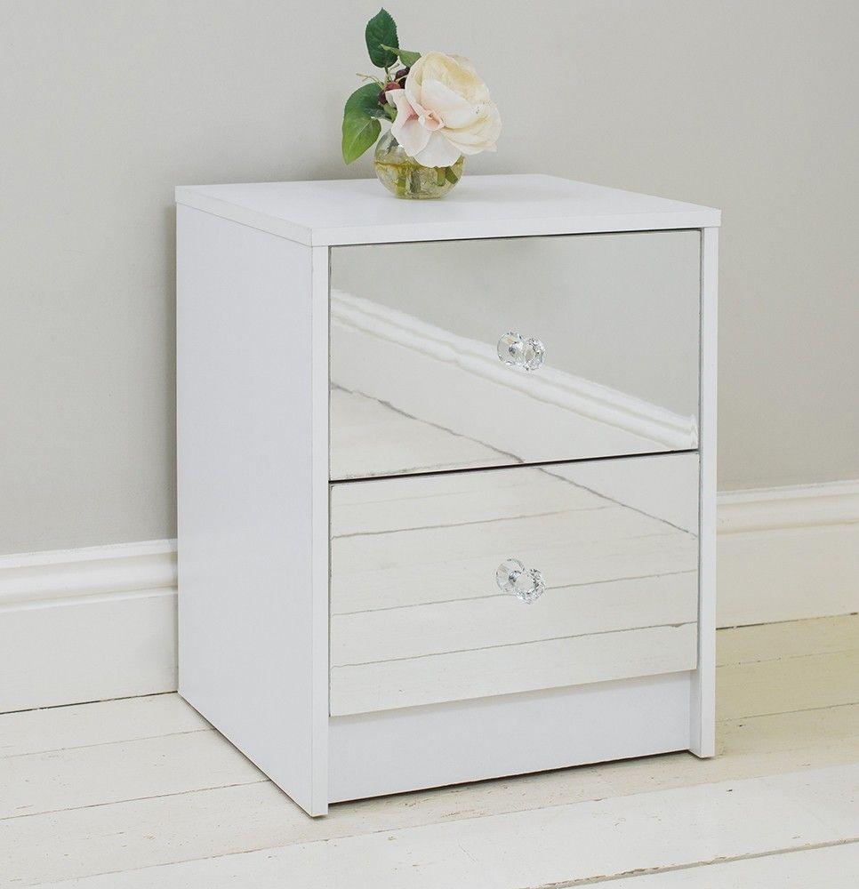 White And Mirrored Nightstand