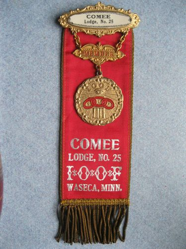 Antique IOOF Odd Fellows Comee Lodge 25 Medal Badge Ribbon Pin