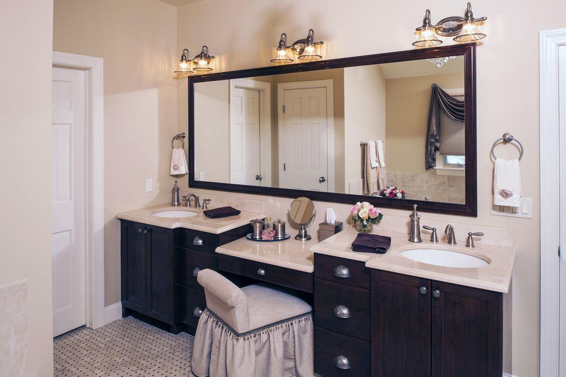 double vanity with makeup area vanity, make up area
