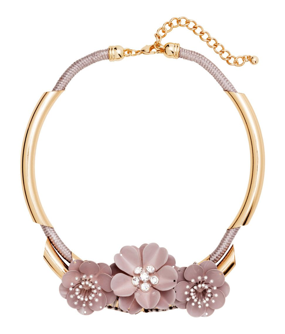 Short cord collar necklace with gold metal accents & rhinestone-adorned flowers. | H&M Accessories