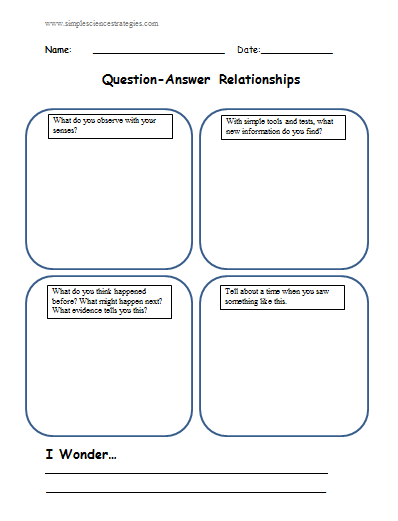 Question Answer Relationships Qars In Science An Organizer This Or That Questions Relationship Reading
