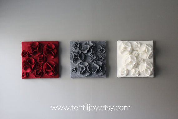 Red Black And Gray Wall Decor: Three Wall Art Canvases Red Gray And White Wall Decor By