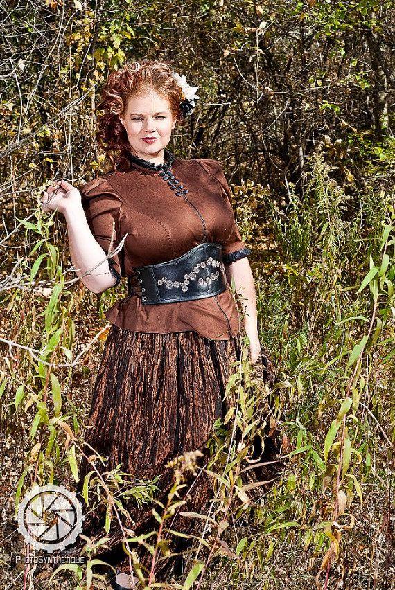 plus size steampunk blouse brown victoriancustom by kmkdesignsllc