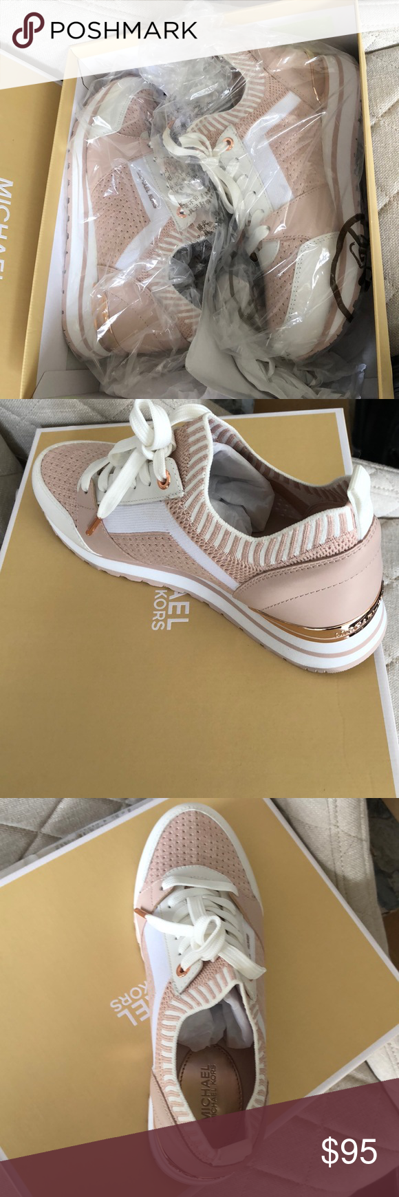 fe21f9b5c706 NIB MICHAEL KORS BILLIE TRAINERS PINK ROSE GOLD New in the box by Michael  kors. Trainers sneakers in soft pink with rose gold hardware. Michael Kors  Shoes ...
