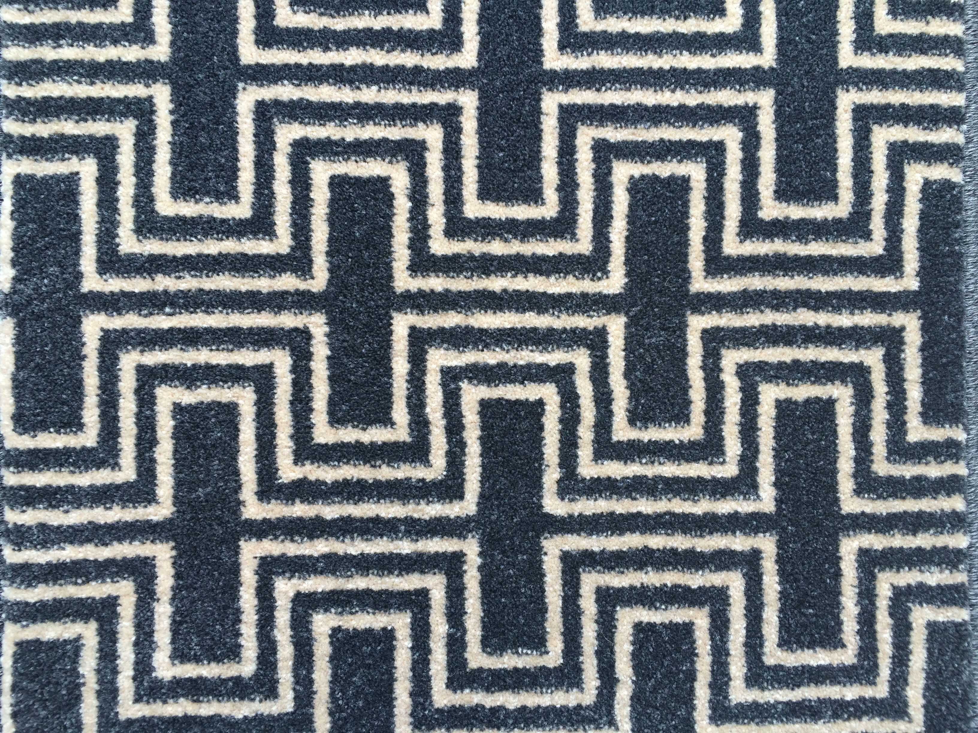 New range of geometric woven Wilton carpets Deco grey