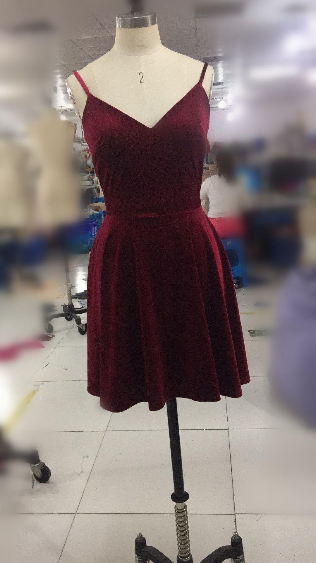 f967fdc4231 Burgundy Short Straps Homecoming Dress