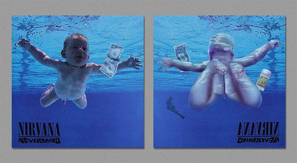 Artist Harvezt has painstakingly created the other side to many iconic album covers, revealing what the reverse shot would look like if a camera had been placed in the background of the original cover.