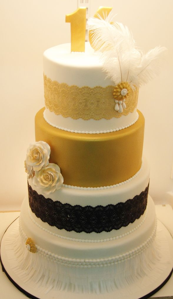 Gold, black, and white lace, feathers and pearls sweet 16 cake ...