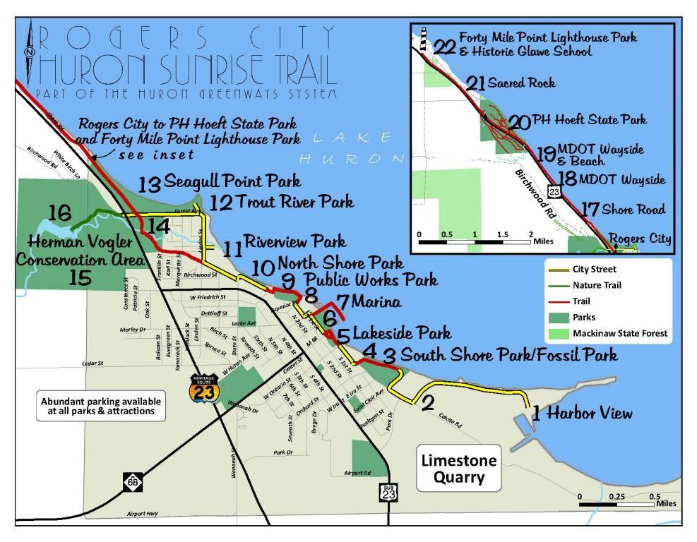 Huron Sunrise Trail Brochure Michigan outdoors, Rogers