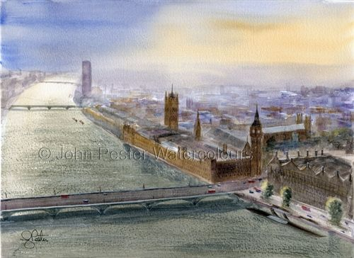 A view from the London Eye painting.