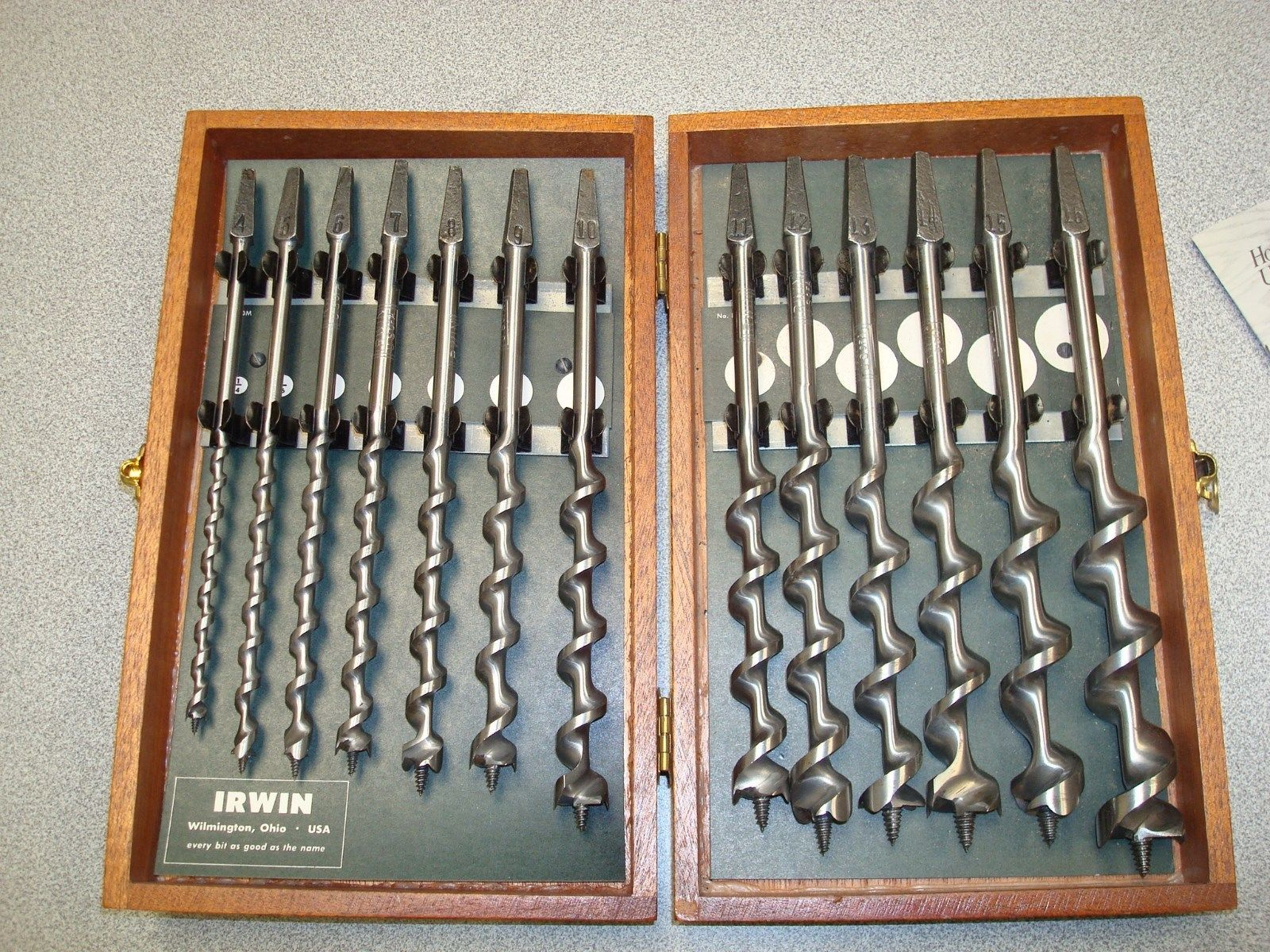 Vintage 13 Piece Irwin Auger Drill Bit Set In Wood Box Wood Boxes Drill Bits Essential Woodworking Tools