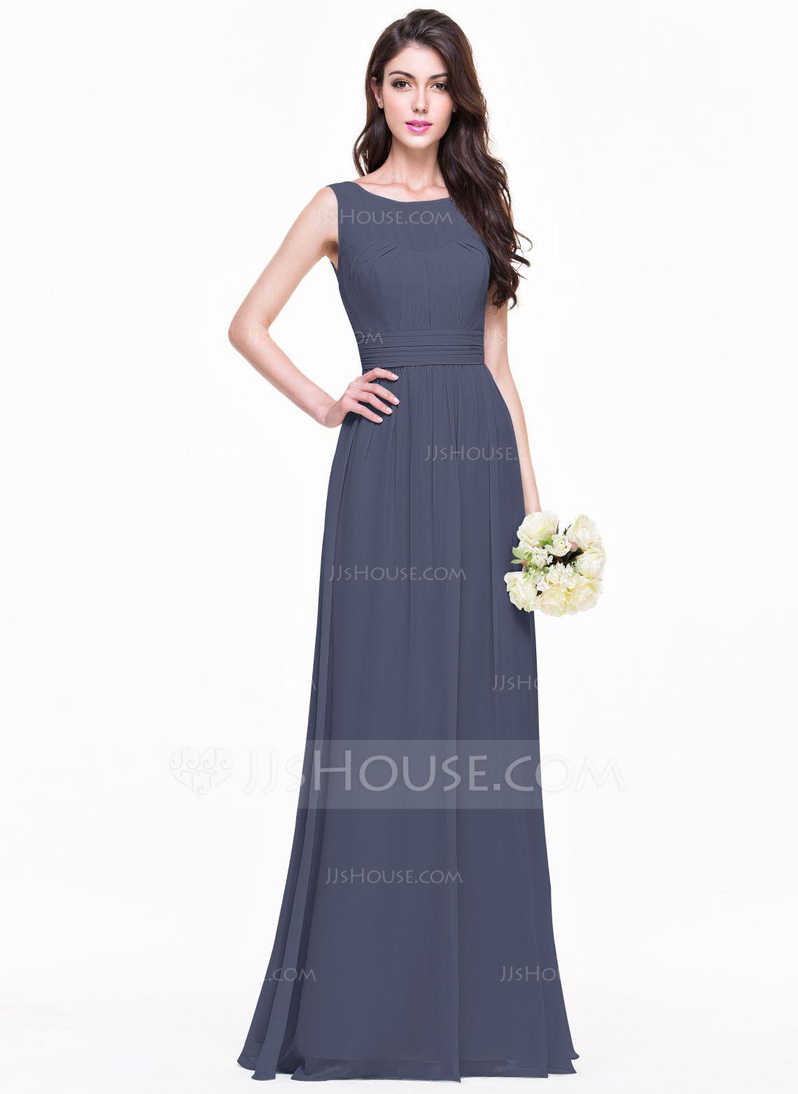 803c28a84d6a A-Line/Princess Scoop Neck Floor-Length Chiffon Bridesmaid Dress With Ruffle  (007068368) - Bridesmaid Dresses - JJsHouse