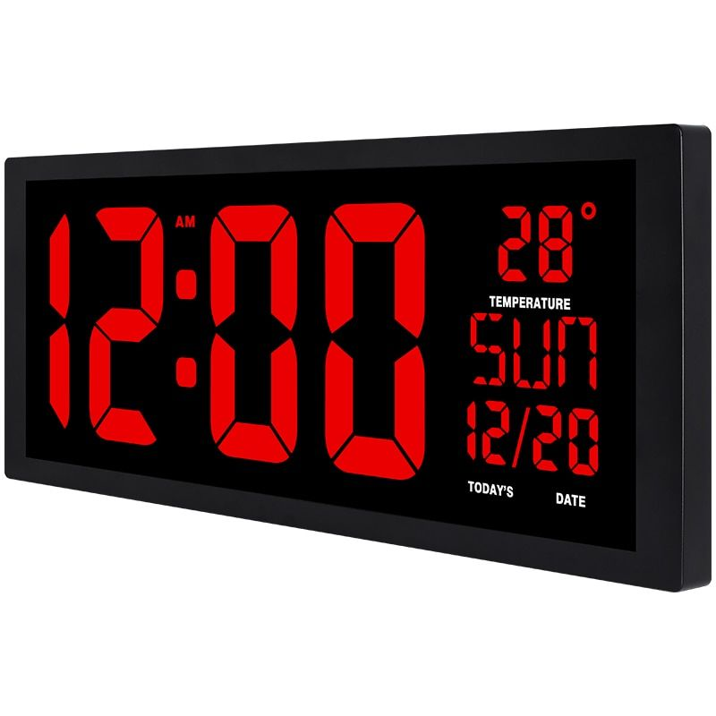 Large Square Wall Clock Red Led Digital Clock Multi Function Home Decor Office Big Table Clock Date Temperature Review Square Wall Clock Clock Table Clock
