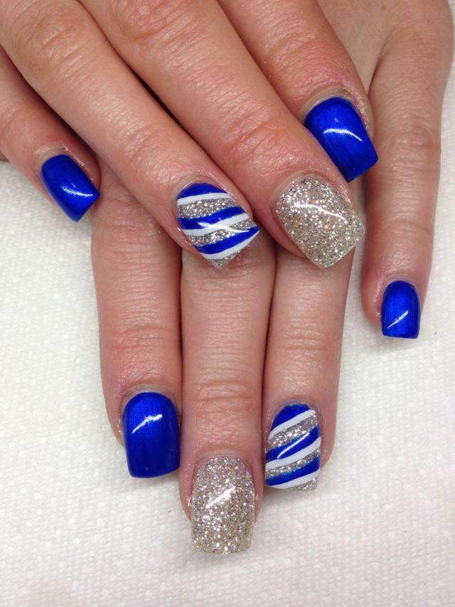 Great Blue And Silver Nails With Lining. Royal Blue Nails DesignsBlue ... - Great Blue And Silver Nails With Lining Fashion Pinterest