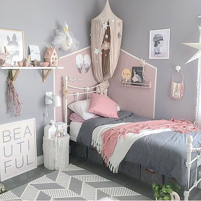 gray and pink twin girl bedroom ideas girls bedroom ideas; girls rooms; kids bedrooms; toddler
